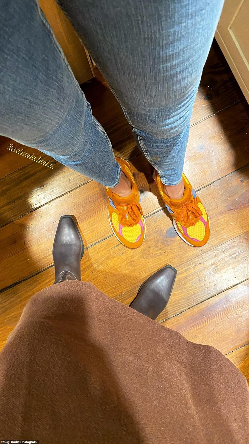 Bonding: Gigi Hadid took to Instagram to post her and her mom Yolanda Hadid's shoes
