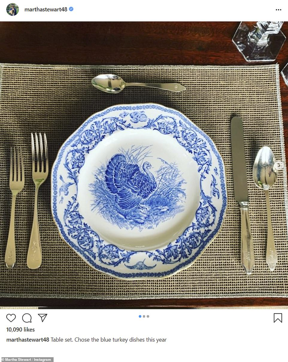 Vibes: Martha Stewart shared an image of her table setting