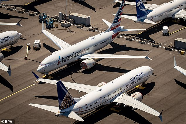 Boeing 737 Max 8 aircraft parked at Boeing Field in Seattle. American Airlines said it will resume using the jets in December, with United following in the first quarter of 2021