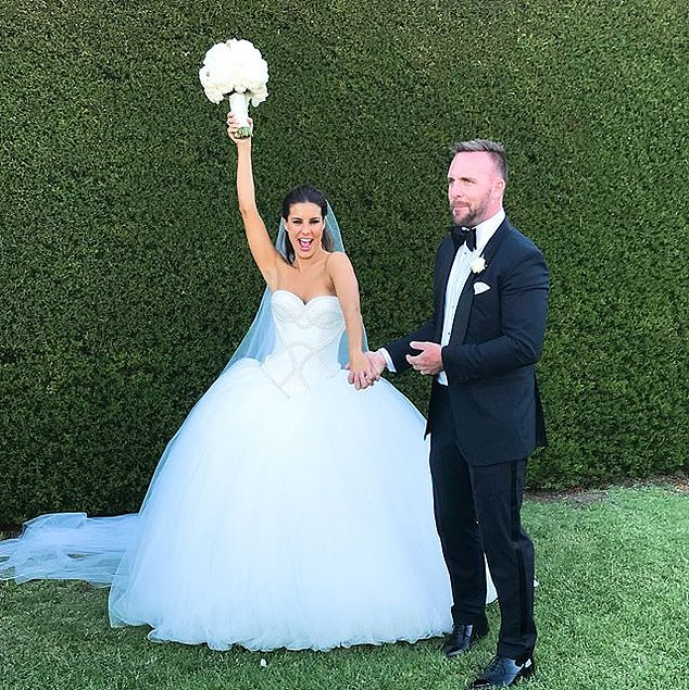 Insta-perfect:The pair exchanged vows in the manicured garden of a private property at Victoria's picturesque Mornington Peninsula