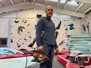 Adam Exley at Red Goat bouldering wall