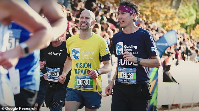 Panek (left) ran marathons tethered to a human guide but he wanted more independence