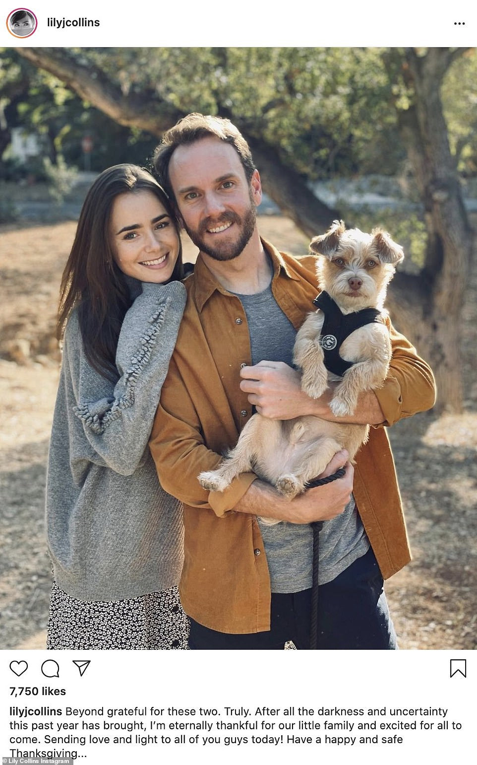 Happy family: Lily Collins shared this cute snap featuring her fiance Charlie McDowell and their dog