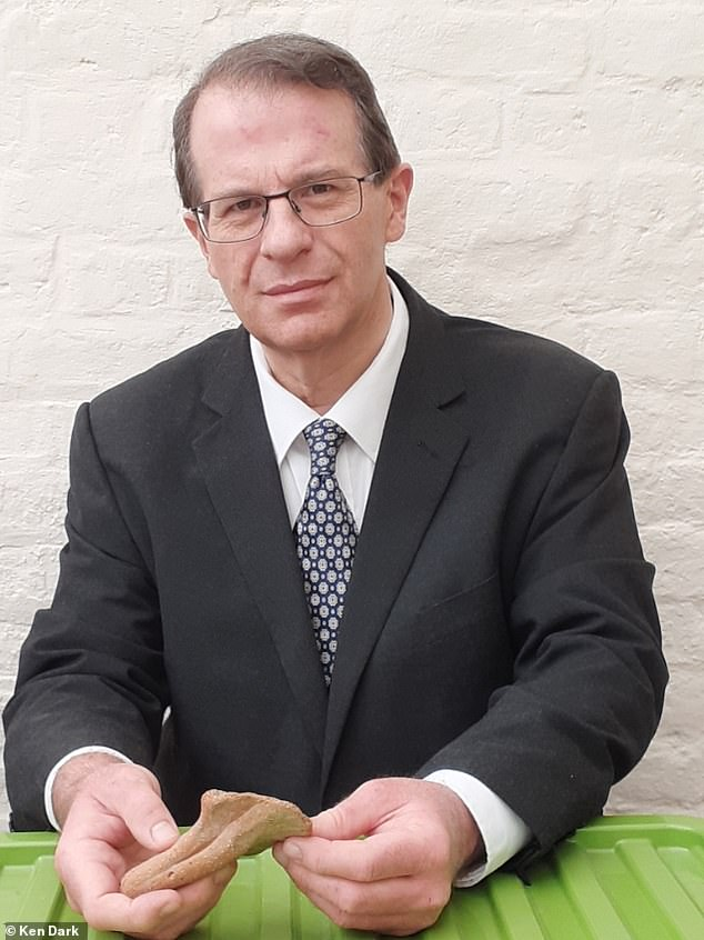 Professor Ken Dark from the University of Reading examining pottery. His book is called The Sisters of Nazareth convent: A Roman-period, Byzantine and Crusader site in central Nazareth