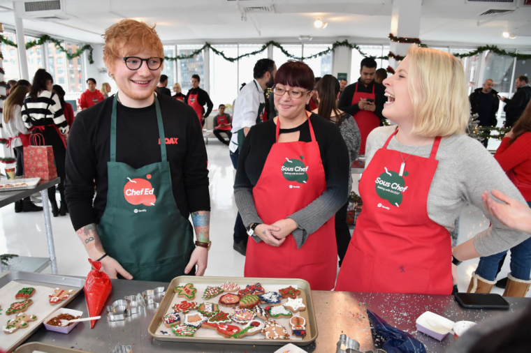 Ed Sheeran bakes gingerED cookies with his biggest Spotify fans  in New York City  (Photo – Getty)