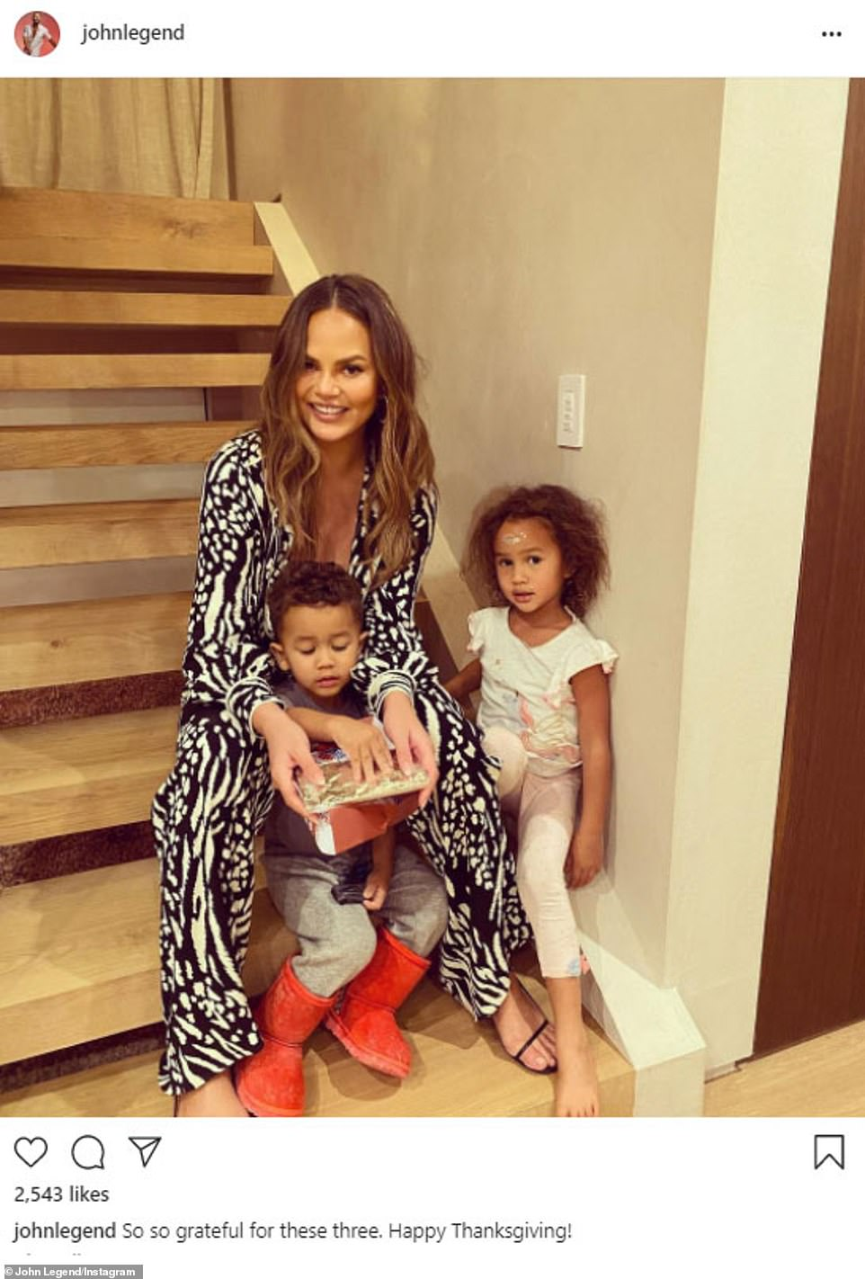 She is happy for what she has: Chrissy Teigen said she was 'so grateful' for her two kids