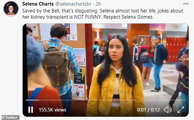 Bizarre jokes: Some of the jokes included having a pair of students argue over the identity of her organ donor to panning to graffiti on a wall, which read: 'Does Selena Gomez even have kidneys?'