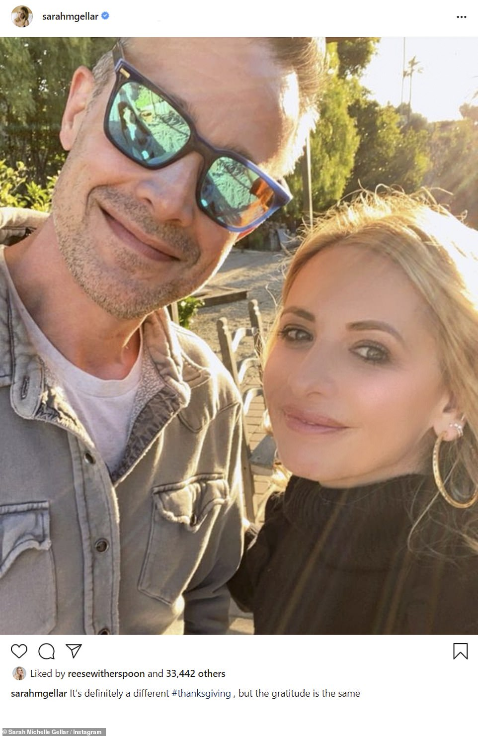Sweet: Sarah Michelle Gellar and husband Freddie Prinze Jr. posted a sweet selfie together
