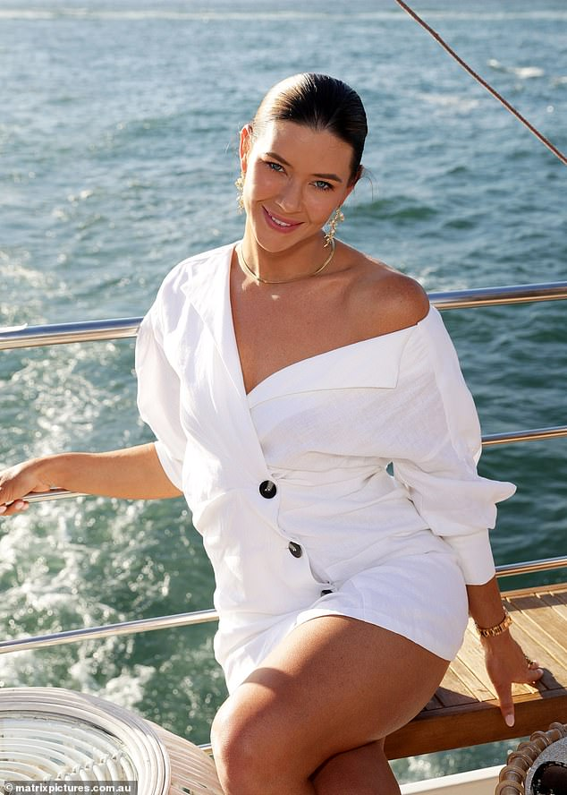White on the mark! Brittany wore a glam off the shoulder button-down shirt dress
