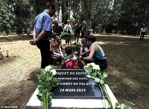 A monument for the victims of the Ethiopian Airlines Flight ET302 Boeing 737 MAX plane crash is seen during a memorial ceremony at the French Embassy in Addis Ababa, Ethiopia