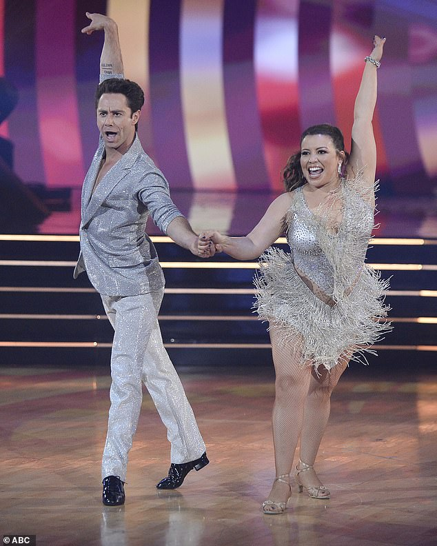 Fun dance: Justina Machado and Sasha Farber, 36, chose to recap their fun Week 1 cha-cha to Aretha Franklin's Respect, with Justina at one point singing part of the song into a microphone