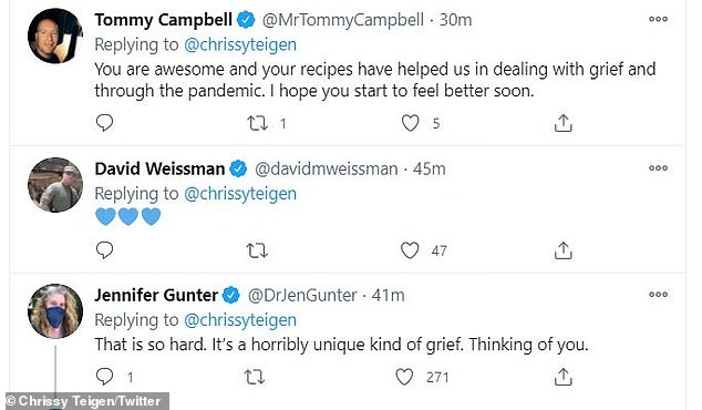 Stay strong: Alluding to her highly successful Cravings empire, comedian Tommy Campbell reminded Teigen that she is 'awesome' and that her 'recipes have helped [others] in dealing with grief and through the pandemic'