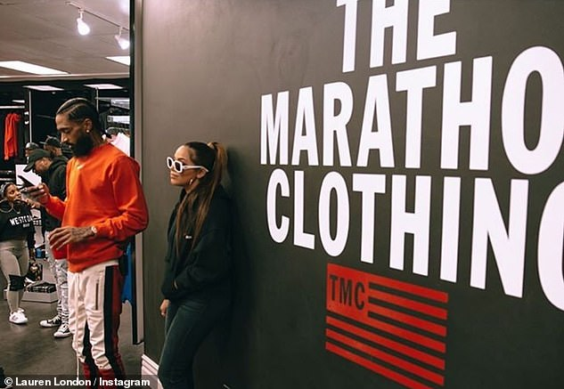 Gone too soon: The recording artist and activist was gunned down outside his Marathon Clothing store on March 31 2019. He annd Lauren had a son Kross, now four