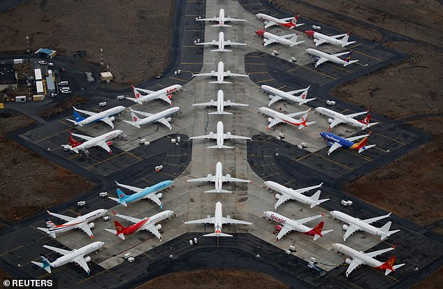 Grounded Boeing 737 MAX aircraft are seen parked at Grant County International Airport in Moses Lake, Washington, in November