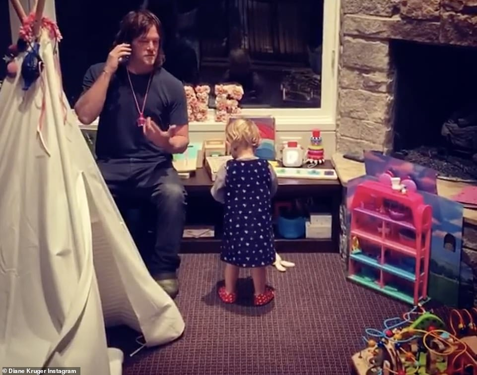 Being thankful: Diane Kruger shared a video of her partner Norman Reedus and their daughter for their second Thanksgiving as a family
