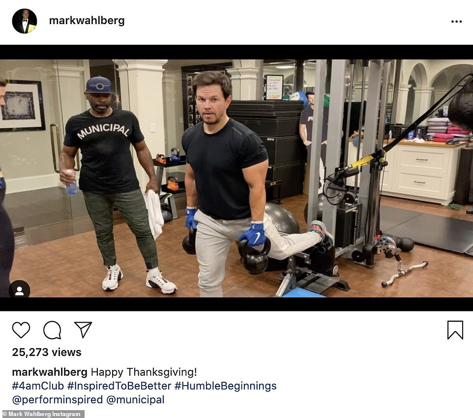 No days off: Mark Wahlberg shared a video of himself working out