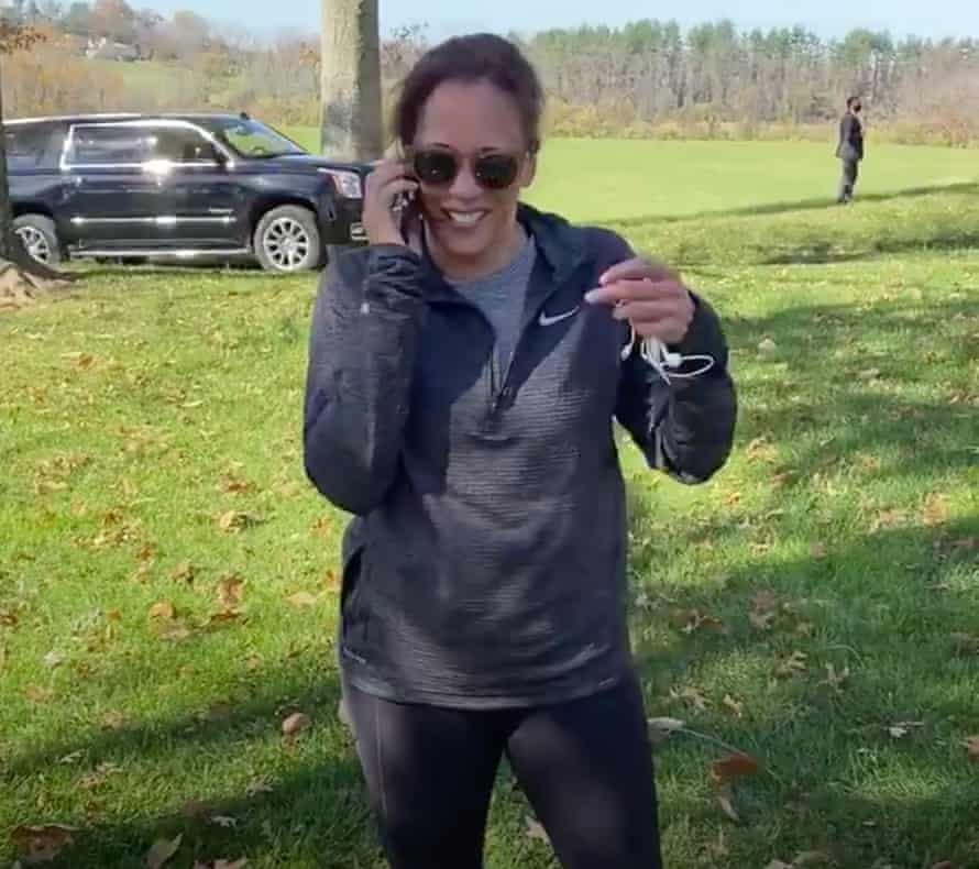 "Kamala Harris making the ""we did it"" call to Joe Biden."