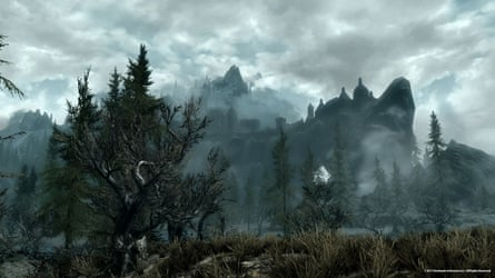 View of the city of Solitude from the marshes in the game Elder Scrolls V: Skyrim