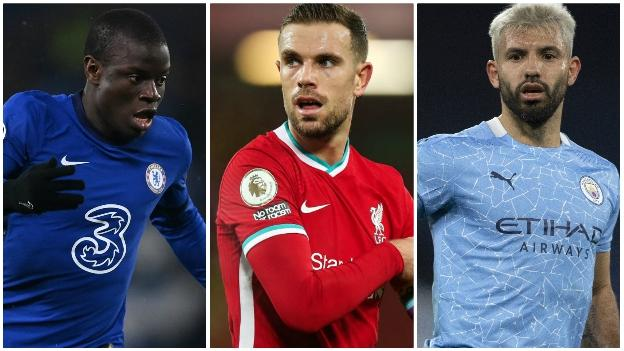 Chelsea's N'Golo Kante, Liverpool's Jordan Henderson and Manchester City's Sergio Aguero
