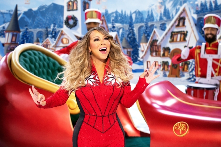 """Mariah Carey performs during her holiday special """"Mariah Carey's Magical Christmas Special"""" available Friday on Apple TV+. (Apple TV+ via AP) 9012051"""