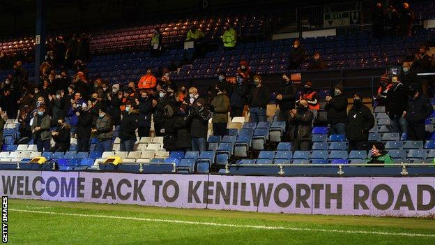 Luton v Norwich was one of six fixtures in the English Football League to take place on Wednesday with a limited number of fans in attendance