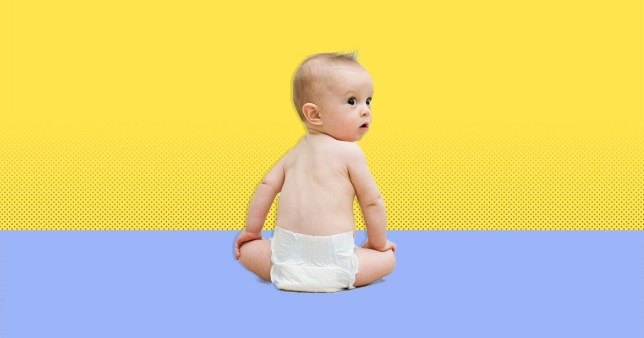 baby wearing a nappy on a yellow and blue background
