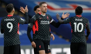 Crystal Palace v Liverpool<br>Jordan Henderson celebrates after scoring the 4th Liverpool goal during the Crystal Palace v Liverpool Premier League match at Selhurst Park on December 19th 2020 in London (Photo by Tom Jenkins/ NMC Pool)