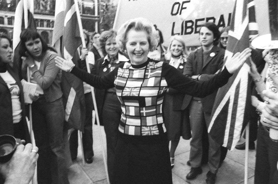 Margaret Thatcher, sporting a jumper bearing the flags of European nations, in Parliament Square during her 'Yes to Europe' campaign