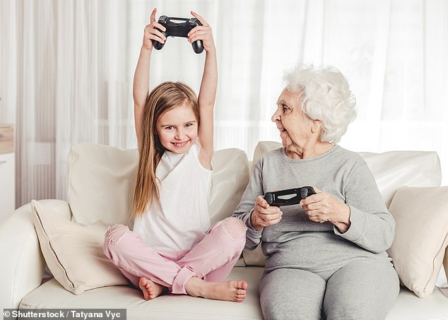 Research reveals grandparents are playing video games to stay in touch with younger members of the family (stock)