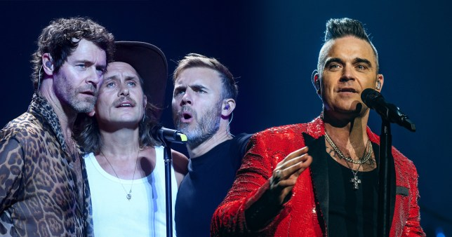 Mark Owen, Howard Donald and Gary Barlow of Take That and Robbie Williams
