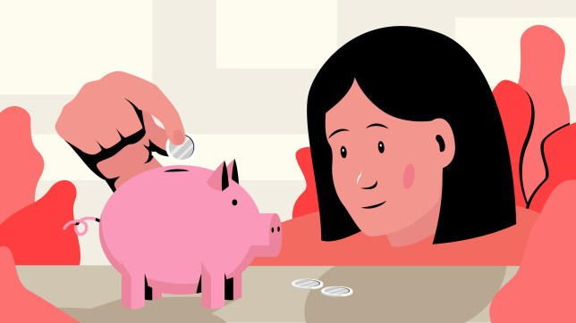 Vector illustration of young girl putting coins in a piggy bank.