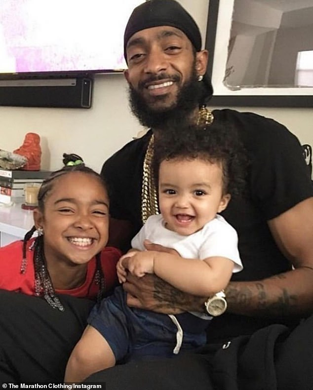 Heirs: The Higher hip-hop star's two children - daughter Emani, 12; and son Kross, 4 - from his relationships with Tanisha Foster and Lauren London will eventually inherit 50% each of his estate (pictured in 2018)