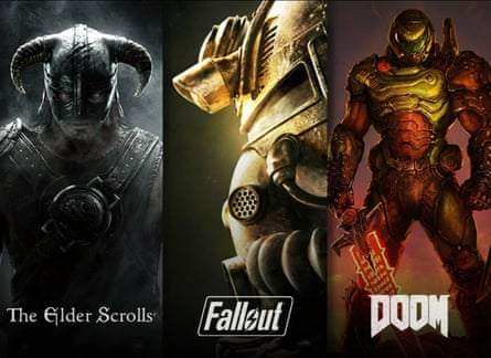 Bethesda games ... The Elder Scrolls, Fallout and Doom.