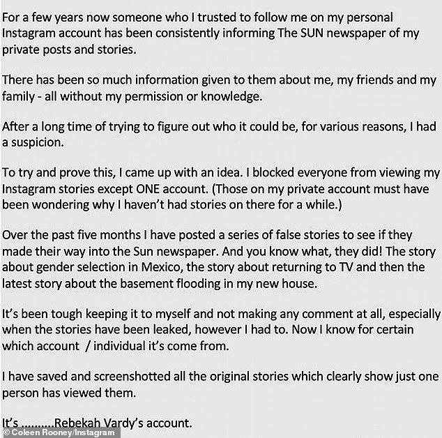 Social media post: Coleen wrote that she had 'saved and screenshotted all the original stories which clearly show just one person has viewed them' before naming Rebekah's account
