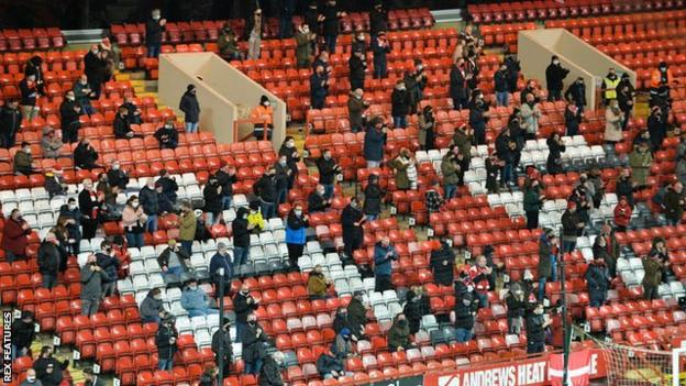 2,000 Charlton fans were allowed in to The Valley to see their 1-0 League One defeat by MK Dons on Wednesday