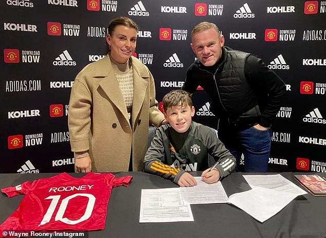 Joining the family business: Coleen proudly revealed that her eldest son Kai has joined Manchester United's academy, following in his dad Wayne's footsteps at the team
