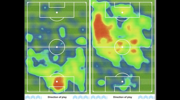 Heat maps showing second-half possession for Tottenham (l) and Arsenal r)