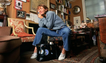 Jane Birkin pictured in the 1990s with her bag.