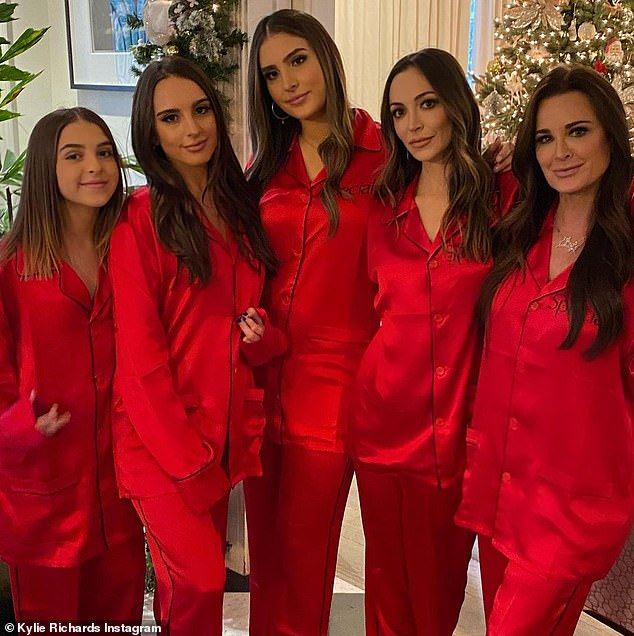 Festive family: Kyle is the mother to four girls;Farrah Aldjufrie, Portia Umansky, Sophia Umansky and Alexia Umansky; seen on Instagram on November 21