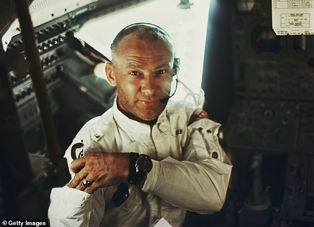 Buzz Aldrin in the lunar module during NASA's Apollo 11 lunar landing mission. Aldrin performed communion with wine and bread inside the module on the surface of the Moon