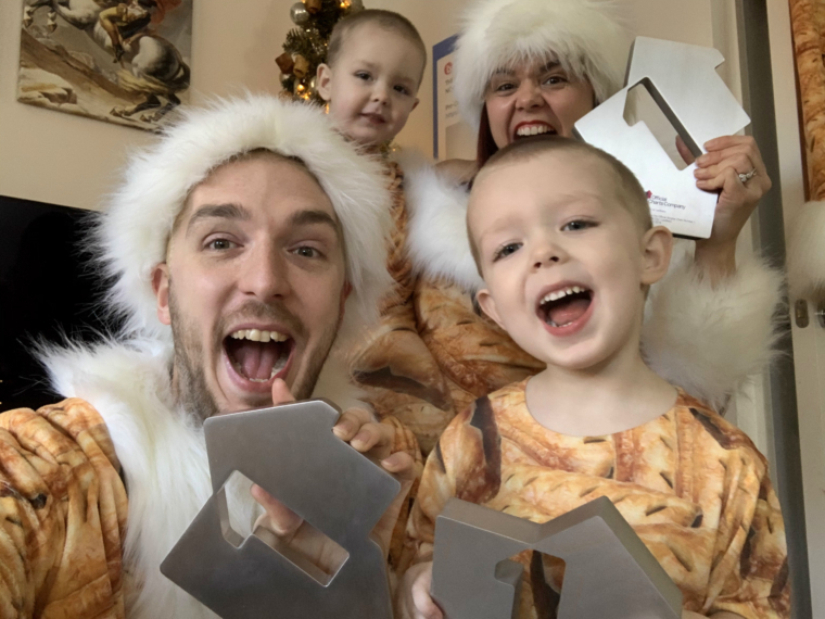 The Hoyle family after learning they are number one again (Photo: Official Charts Company)