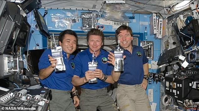 NASA crew members drinking water aboard the ISS. Alcohol is banned aboard the space station because it could damage sensitive equipment. It could also cause astronauts to tax the station's toilets