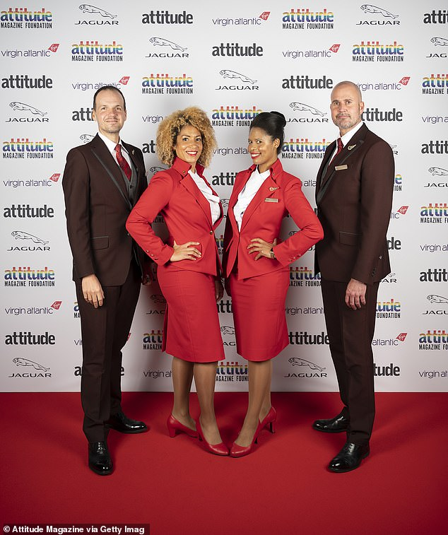 Cheery: Virgin Atlantic crew appeared in great spirits as they posed for the event