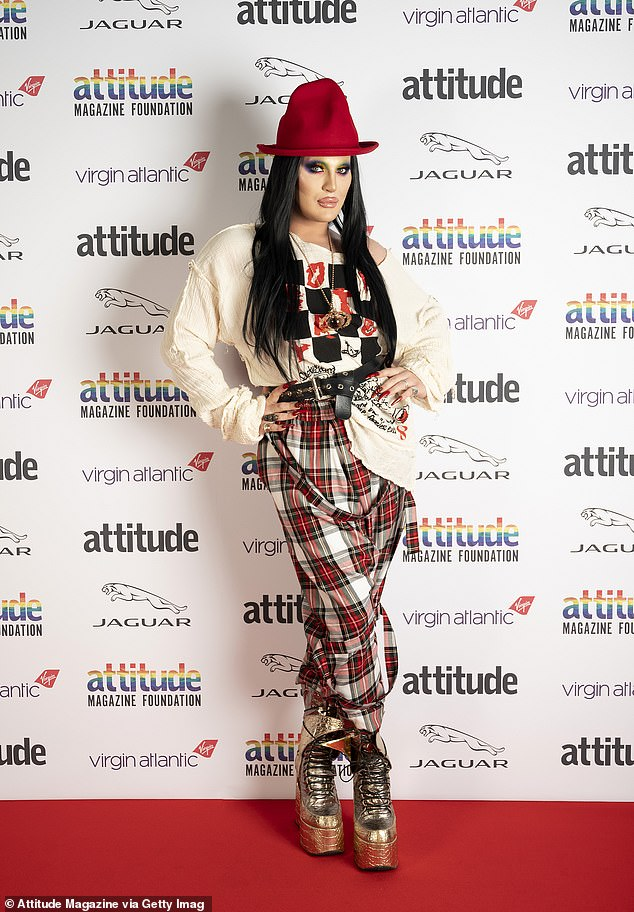 Vibrant: Drag queenThe Vivienne teamed a graphic T-shirt with tartan print joggers