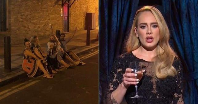 Adele drinking on curb with friends