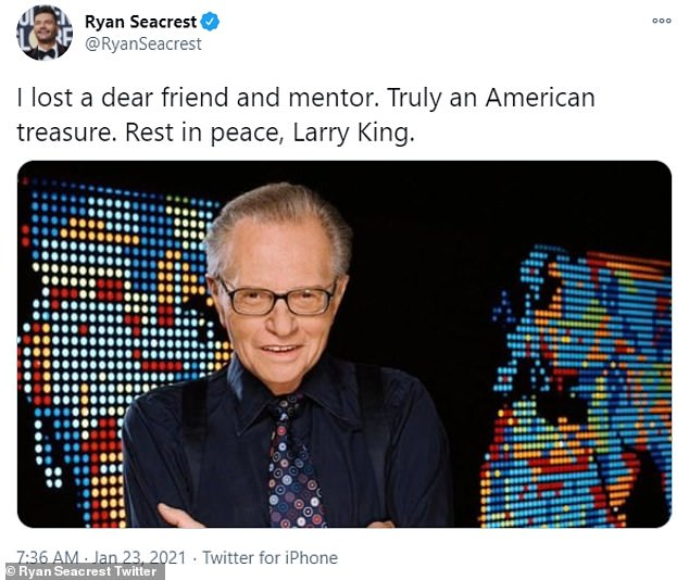 'I lost a dear friend and mentor,' Seacrest wrote. 'Truly an American treasure. Rest in peace, Larry King.