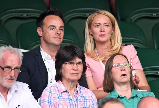 Anthony McPartlin and Anne-Marie Corbett on Centre Court Wimbledon Tennis Championships,