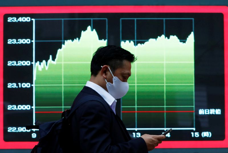 © Reuters. A man wearing a protective face mask walks past a screen displaying a graph showing recent Nikkei share average outside a brokerage, amid the coronavirus disease (COVID-19) outbreak, in Tokyo