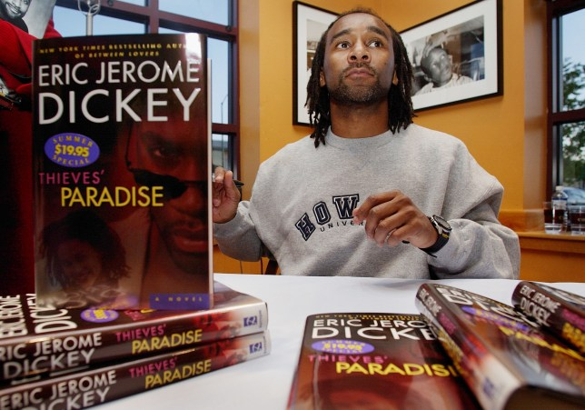 Author Eric Jerome Dickey with his novel, Thieves' Paradise