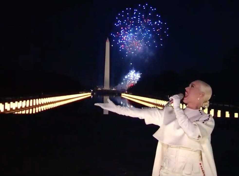 Katy Perry performs during the Celebrating America Primetime Special on 20 January 2021